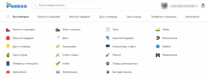 категории каталога товаров